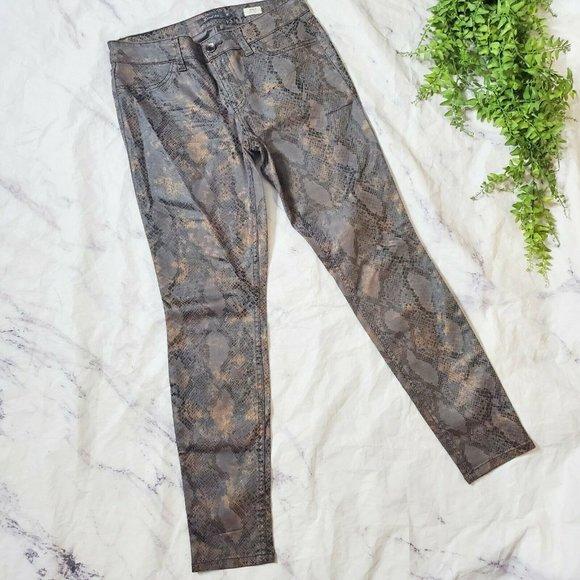 Level 99 Janice Ultra Skinny Metallic Python Snake Print Brown Mid-Rise Jeans 30